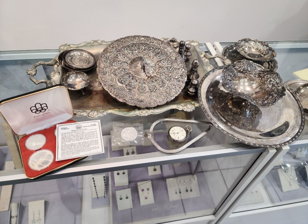 view of various silver items